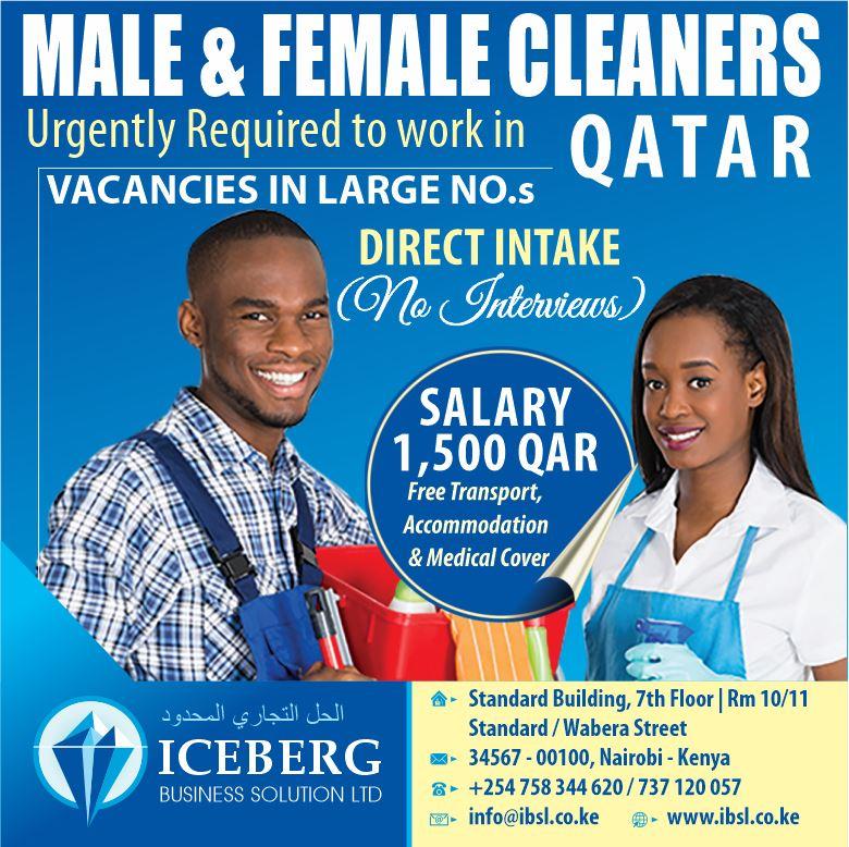 male & female cleaners